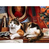 arts and crafts embroidery patterns - HWB Cat And Violin Diamond Diamond Mosaic Needlework Embroidery Diy Cross stitch Pattern Hobbies And Crafts x30cm