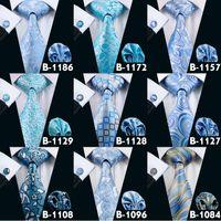 Beautiful Blue Sky Mens Tie Neck Tie Set de haute qualité de mariage Bussiness cravate Hot Sale Cravates Pour Hommes Livraison gratuite Cheap Tie