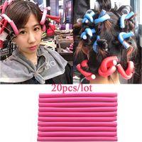 Wholesale Soft Bendy Foam Curlers - 20Pcs 1.5cm Hair Roller Curler Hair Curling Flexi rods DIY Styling Hair Rollers Curler Makers Twist Curls Tool Soft Foam Bendy
