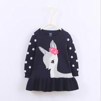Cheap 2016 New Autumn Girls Long Sleeve Skirt Knit Dress Children Kids Deer Polka Dots Skirts European Style Knit Tutu Clothes one-piece