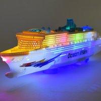 Nuevo barco de cruceros de lujo de gran tamaño Modelo de barco de juguete Rotación universal con la luz de la música bebé juguete niños niño colorido luminoso liner regalo