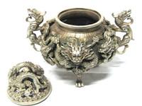 antique foo dogs - Rare Chinese tibet silver Carved FOO DOG dragons Censer Incense Burner