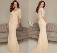 Wholesale Elegant Fashion V Neck Half Sleeve Beaded Mermaid Lace Long Mother of the Bride Dresses HY1539