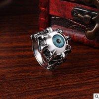 amber band ring - Men s Vintage Dragon Claw Amber Evil Eye Skull Ring Stainless Steel Biker Ring Devil Eyeball Halloween Party Props Men Jewelry