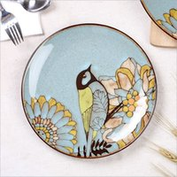 Wholesale High quality dinnerware reaction glaze stoneware plates exquisite hand painted ceramic plate customized
