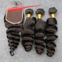 Wholesale Malaysian Loose Wave With Closure bundles with closure Unprocessed Human Hair Weave A Malaysian Virgin Hair With Closure B
