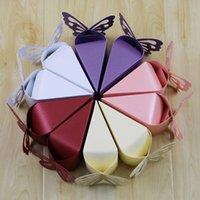 Gommage main France-100 PCS / Lot de gâteau en forme de mariage Candy Boîte Scrubs Papier Sac cadeau avec papillon artificiel Handmade Sweet Girl Holders en gros