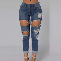 apparel cutting - Ripped Jeans Women New Mid Waist American Apparel Boyfriend Jeans Sexy Denim Blue Cut Out Hole Knee Skinny Pencil Jeans