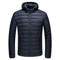 Wholesale Autumn Men s cotton Down Jacket Light Parkas Thin Coat Standing Collar Slim Clothes Male Fall Spring Clothing Outwear Sports