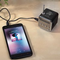 Wholesale In stock black Aluminum alloy Portable Micro TF USB Mini Stereo Speaker Music Player FM Radio PC MP3