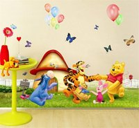 Wholesale HOT winnle pooh bear wall stickers kids room decoration adesivos de paredes home decals animal mural art print movie poster
