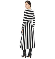 america trumpet - 2016 Autumn new style Europe America women black white stripe long sleeve loose plus size dress