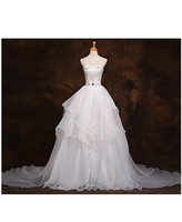Cheap free shipping A-line Wedding Dress Court Train Sweetheart Organza with Beading babyonline