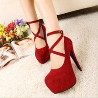 Wholesale 2013 New Red Strappy Heels Pumps Sexy Wedding Club Party Platform High Stiletto Heels Shoes