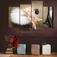 ballerina paintings - 100 Hand painted High Quality Classcial Figure Oil Painting on Canvas Ballerina Girl Home Wall Decor Modern Paintings set B102
