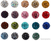 bead necklace lot - 100pcs lowest price mm mixed multi color ball Crystal Shamballa Bead Bracelet Necklace Beads Hot new beads Rhinestone DIY spacer