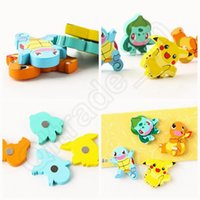 Wholesale Poke Fridge Magnet Creative Wooden Cartoon Pikachu Squirtle Bulbasaur Charmander Refrigerator Magnetic Sticker Toy OOA748