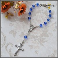 baptism bracelet - 50pcs Catholic Mini Rosary mm Blue Glass Bead Rosary Bracelet Children s Communion Gifts Fatima Rosary Baby s Baptism Favor