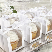Wholesale 50x White Paper With Clean Pvc Window Cupcake Cake Party Wedding Favor Boxes Paper Box Packaging Containers