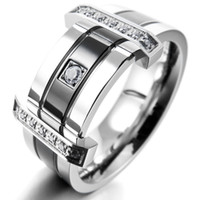 Wholesale Men s Stainless Steel Rings Band CZ Silver Black Wedding Charm Elegant