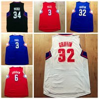 best moisture - Best High Chris Paul Jersey Sport Blake Griffin Shirt Uniform DeAndre Paul Pierce New Rev Team Color Red Blue Black White