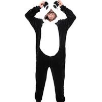 adult sleepwear - Panda Unisex Flannel Hooded Pajamas Adults Cosplay Cartoon Cute Animal Onesies Sleepwear Hoodies For Women