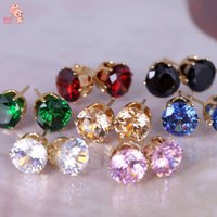 Wholesale 2016 New Fashion Women Round Favorite Design K Gold Plated Studded Candy Crystals Diamond Stud Earring