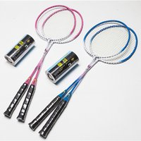 badminton shuttlecocks nylon - Aluminum Alloy Badminton Rackets Sport Dexterous for Men Best Durable Graphite Ferroalloy T joint Badminton Rackets with Shuttlecock HK357