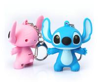 Wholesale Hot Sale D Stitch LED luminous key ring sound and emit light Action Figure Keychain Keyring Key Ring Cute