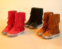baby martin - 2016 winter children s Martin boots Gaotong fringed side zipper leisure thick warm baby boots yard pair F