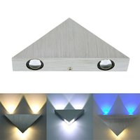 Wholesale 3W Aluminum Triangle LED Wall Light Lamp Modern Home Lighting Indoor Outdoor Decoration Light Warm Cold White Red Green Blue AC90 V