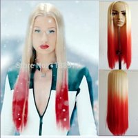 azalea colors - 613Tred colors lggy Azalea fashion Long straight hair two tone heat resistant synthetic lace front wigs women