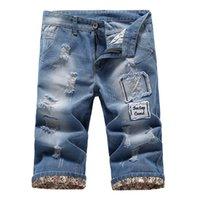 Wholesale Summer Men Denim Ripped Design Shorts Casual Denim Blue Shorts For Men Q6569