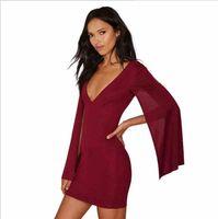 Wholesale Europe shawls cloak sleeve short skirt Sexy package hip deep V dress Stitching step skirt Short skirt Burgundy Black New
