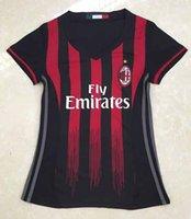 best ladies suit - Women AC tops black soccer jerseys adult tops lady de foot maillot best quality uniform training suits Milan jersey