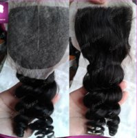 Brazilian Hair Natural Color Loose Wave Free shipping loose wave Brazilian human hair top closure middle part silk base lace closure queen hair products bouncy curl