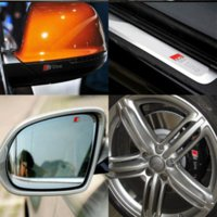 Cheap 4 pcs Durable RS Sline S line emblem logo Car PVC Race Trim Sticker Caliper Disc Brake wheel cylinder For Audi A4