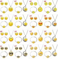 Bracelet,Earrings & Necklace Mexican Unisex Emoji Jewelry Sets QQ WeChat Expression Glass Cabochon Silver Bracelet Earrings Necklace Sets For Women Fashion Jewelry Gift
