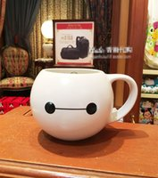 big coffee cups - New Hongkong Genuine Disneyland Big Hero Baymax Mug high capacity Cartoon white ceramic Starbucks coffee Milk cup gift for Children