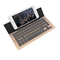 Wholesale Intelligent Pocket Folding Keyboard Aluminum Bluetooth Foldable Wireless Keypad for iphone ipad PC tablet case phone