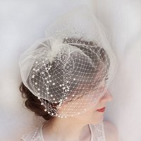 beaded metal cover - Ivory Birdcage Veil Beaded Face Covers Wedding Veils Fascination Hat With Metal Comb Soft Illusion Tulle Birdcage Veil New