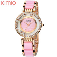 Luxury Women's Water Resistant Kimio 2016 china Brand women Lady Watches luxury quartz watch Analog pink white black rhinestone dials rose gold bracelet band