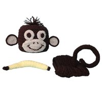 baby monkey costumes - Crochet Baby Monkey Outfit Handmade Baby Boy Girl Monkey Hat Diaper Cover Banana Set Infant Halloween Costume Newborn Toddler Photo Prop