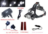 Wholesale Headlamp LED Headlight T6 Lumens Led USB Power bank Rechargeable Hunting Head Light Charger