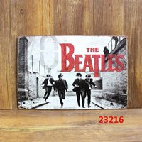 Wholesale The Beatles Tin Sign Bar pub home Wall Painting Decor Retro Metal Art Poster Four People Running