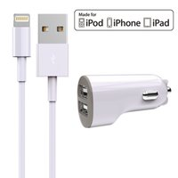Wholesale HXINH Apple MFi Certified A Dual USB Car Charger Combo with Lightning to USB Cable for iPhone iPad