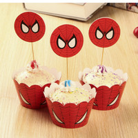 Wholesale 240PCS Spiderman Superhero Cake Decorations Cupcake Wrappers and Toppers Picks Birthday Party Supplies set of