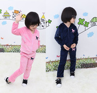 jogging suits - pink dark blue girls velvet tracksuit baby girl jogging suit kids velvet hoodie pants suit set embroidered tracksuits A066