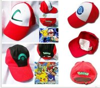ash trainers sale - New style Poke Ash Ketchum Trainer Hat Poke mon Costume Cap Adult Mesh Hat Trucker hat caps for women and men DHL FREE factory sale