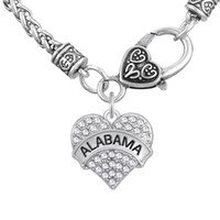 alabama necklace for men - Pendant Necklaces White Crystal Engrave Letter ALABAMA Pendant Necklaces Bracelets Earrings Pendant Charms Fancy Gift for Man Woman